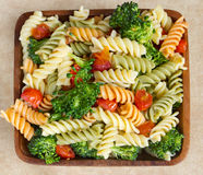 Pasta salad and veggies Stock Photos