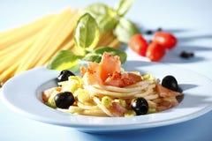 Pasta with salmon. Very tasty pasta wiht smoked salmon Stock Photography