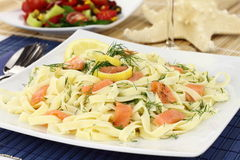 Pasta with salmon Royalty Free Stock Image