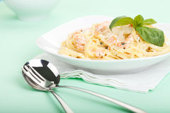 Pasta with salmon Royalty Free Stock Photos