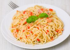 Pasta with salmon Royalty Free Stock Photography