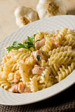 Pasta with Salmon and cream royalty free stock photography