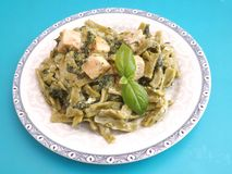Pasta with salmon fish Royalty Free Stock Photography