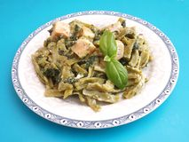 Pasta with salmon fish Royalty Free Stock Image