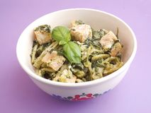 Pasta with salmon fish Royalty Free Stock Images