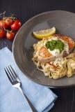 Pasta salmon Stock Photos