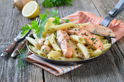 Pasta with salmon Stock Photos