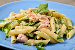 Pasta with salmon and rocket Royalty Free Stock Photos