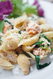 Pasta with salmon, spinach and cream, Royalty Free Stock Photos