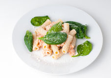 Pasta with salmon and spinach Royalty Free Stock Images