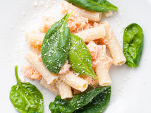 Pasta with salmon and spinach Royalty Free Stock Photography