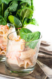 Pasta with salmon and spinach Stock Photo
