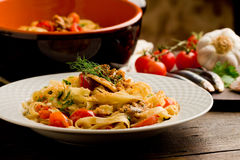 Pasta with Sardines Royalty Free Stock Photography
