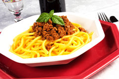 Pasta with sauce. Pasta with meat and sauce on the table Stock Photos