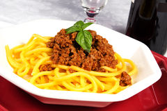 Pasta with sauce. Pasta with meat and sauce on the table Stock Photo