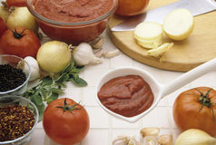 Pasta Sauce. Various ingrediants for preparing pasta sauce Royalty Free Stock Image