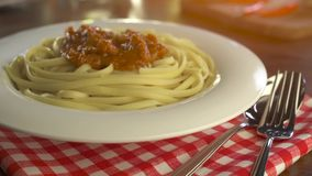 Pasta with sauce and basil. Homemade pasta with sauce and basil stock footage