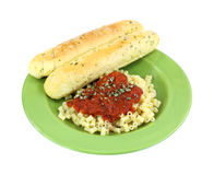 Pasta Sauce Chives Garlic Bread Sticks Green Plate Stock Photos