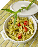 Pasta with sauce pesto Royalty Free Stock Photo