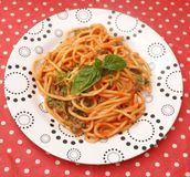 Pasta with a sauce of tomatoes Stock Photo