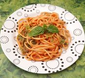 Pasta with a sauce of tomatoes Stock Image