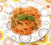 Pasta with a sauce of tomatoes Stock Images
