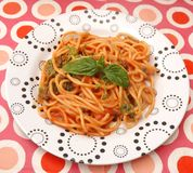 Pasta with a sauce of tomatoes Stock Photography