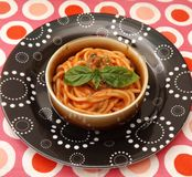 Pasta with a sauce of tomatoes Royalty Free Stock Photography