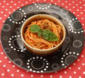 Pasta with a sauce of tomatoes Royalty Free Stock Images