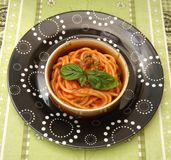 Pasta with a sauce of tomatoes Royalty Free Stock Photos