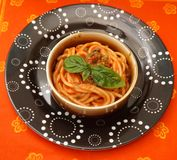 Pasta with a sauce of tomatoes Royalty Free Stock Photo