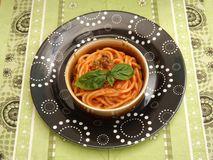 Pasta with a sauce of tomatoes Royalty Free Stock Image