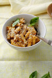 Pasta with sauce in white bowl Royalty Free Stock Images