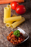 Pasta sauceand vegetables Royalty Free Stock Images