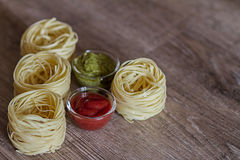Pasta and Sauces Stock Images