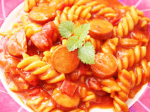 Pasta with sausage Royalty Free Stock Photo