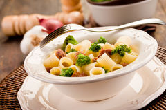 Pasta with sausage and broccoli Royalty Free Stock Photography