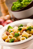 Pasta with sausage and broccoli Stock Photography