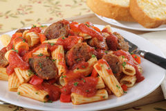 Pasta Sausage Meal Royalty Free Stock Photos