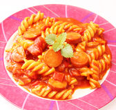 Pasta with sausage Royalty Free Stock Photography