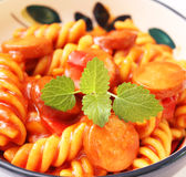 Pasta with sausage Stock Images