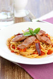 Pasta with sausage and tomato Royalty Free Stock Photography