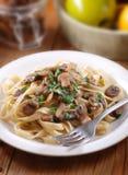 Pasta with sauteed mushrooms Stock Photos