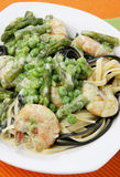 Pasta with sea food. Asparagus and vegetables Royalty Free Stock Photos