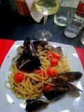 Pasta sea food royalty free stock photography