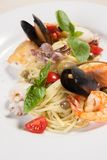 Pasta with sea food Stock Image