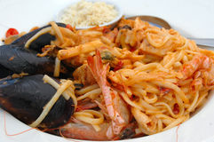 Pasta with seafood Stock Image