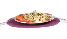 Pasta with seafood. On white background Stock Photo