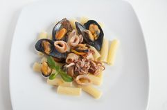 Pasta with seafood Royalty Free Stock Photos
