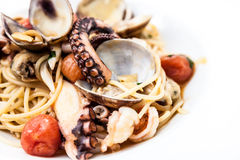 Pasta with seafood Stock Images
